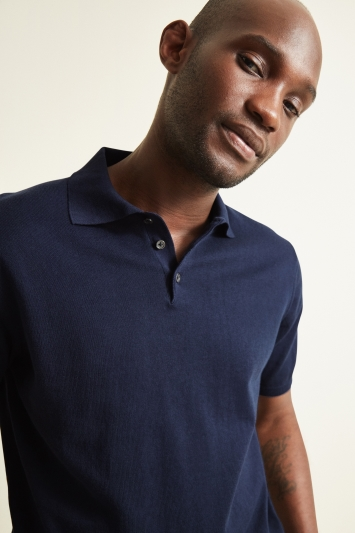 Moss 1851 Navy Short-Sleeve Polo Shirt