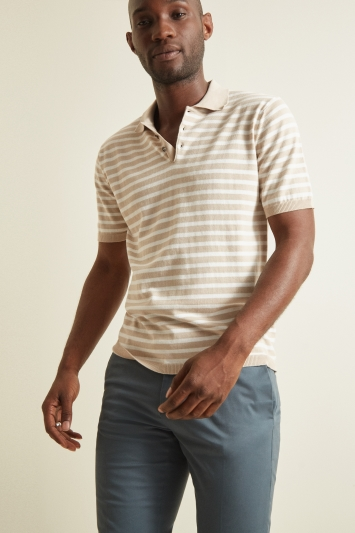 Moss 1851 Oatmeal with Warm White Stripe Short-Sleeve Polo Shirt