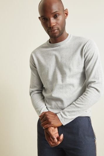 Moss 1851 Warm Grey Extra-Fine Crew-Neck Jumper