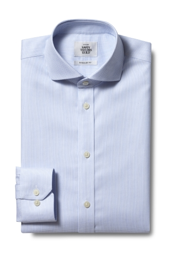Savoy Taylors Guild Regular Fit Sky Single Cuff Dobby Zero Iron Shirt