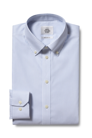 Savoy Taylors Guild Regular Fit Sky Single Cuff Stripe Zero Iron Button Down Shirt