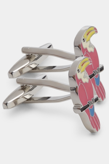 Moss London Pink Enamel Toucan Cufflink
