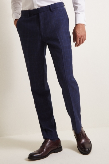 Moss 1851 Tailored Fit eco Blue Check Trouser