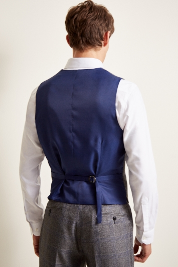 Moss 1851 Tailored Fit eco Grey Check Waistcoat