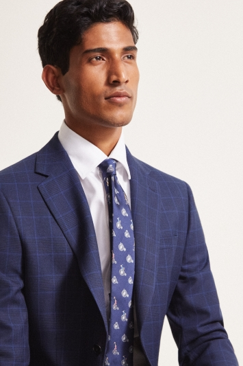 Moss London Slim Fit eco Blue Check Jacket