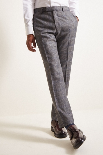 Moss London Slim Fit eco Grey Check Trousers