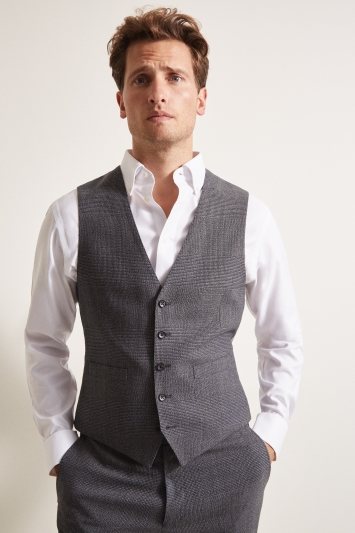 Ermenegildo Zegna Cloth Tailored Fit Charcoal Glen Check Waistcoat