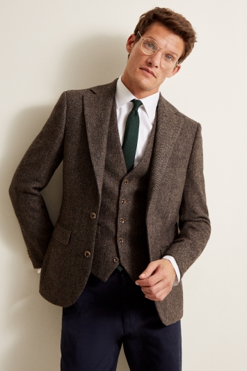 Moss 1851 Tailored Fit Brown Herringbone Jacket