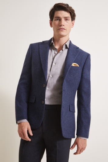 Moss 1851 Tailored Fit Navy Herringbone Jacket