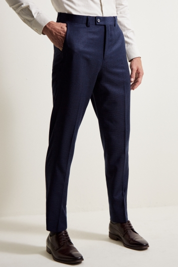 Ted Baker Tailored Fit Oversized Blue Check Trousers