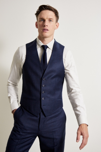 Ted Baker Tailored Fit Oversized Blue Check Waistcoat