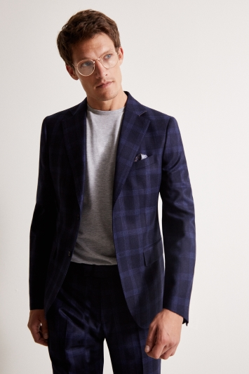 Vitale Barberis Canonico Tailored Fit Blue Check Flannel Jacket