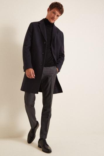 HUGO by Hugo Boss Navy Malte Overcoat