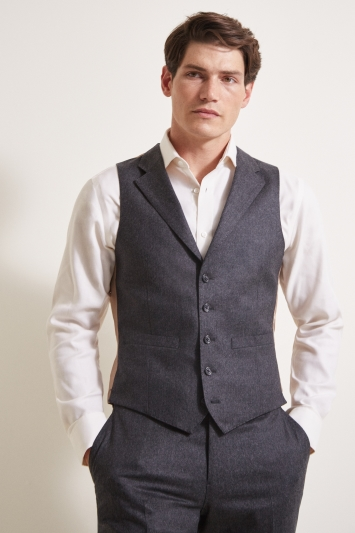 Barberis Tailored Fit Grey Flannel Waistcoat
