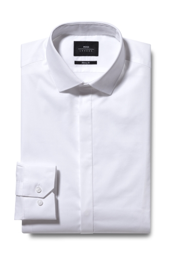 Moss London Skinny Fit White Single Cuff Stretch Dress Shirt