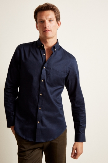 Moss London Casual Skinny Fit Navy Button Down Stretch Oxford Shirt