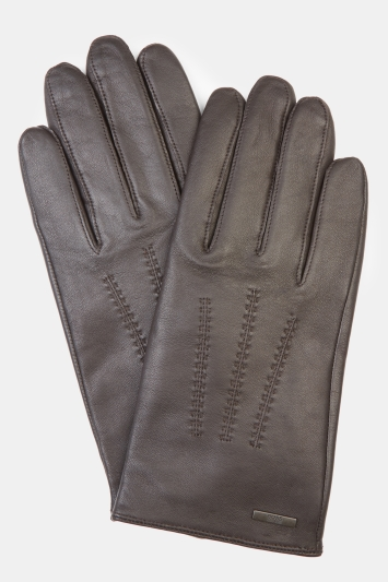 Hugo Boss Brown Leather Gloves