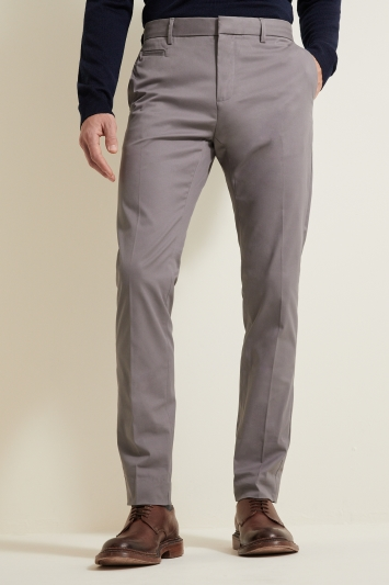 Moss London Slim Fit Light Grey Stretch Chino