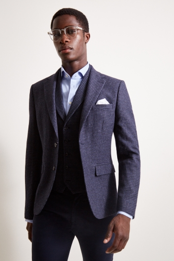 Moss London Slim Fit Blue Houndstooth Jacket