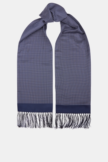 Moss London Navy Pin Dot Dress Scarf