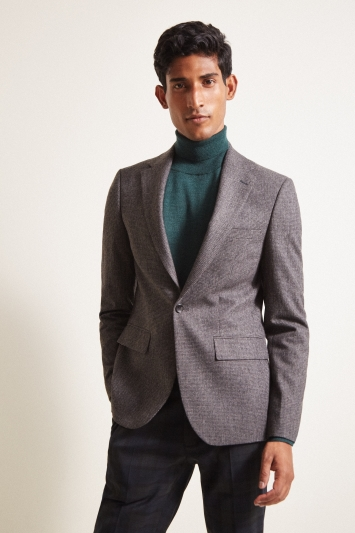 Moss London Slim Fit Charcoal Puppytooth Jacket