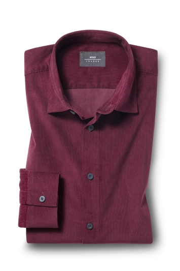 Moss London Casual Burgundy Single Cuff Cord Overshirt
