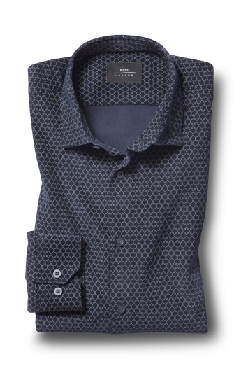 Moss London Skinny Fit Navy Single Cuff Geo Print Cord Overshirt