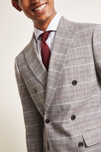 Moss London Slim Fit Grey Tan Check Double Breasted Jacket