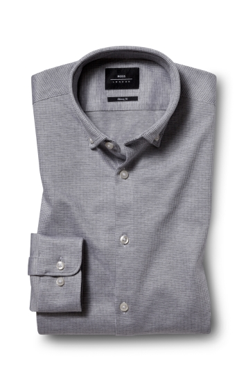Moss London Skinny Fit Grey Single Cuff Knitted Pique Button Down Shirt