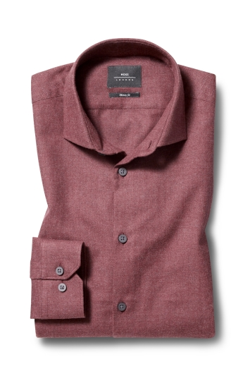 Moss London Skinny Fit Wine Single Cuff Brushed Cotton Shirt