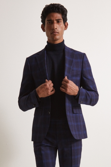 Moss London Slim Fit Ink Check Jacket