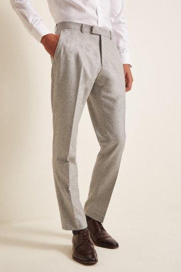 Vitale Barberis Canonico Tailored Fit Light Grey Flannel Trousers
