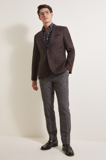 Moss 1851 Tailored Fit Plain Chocolate Flannel Jacket