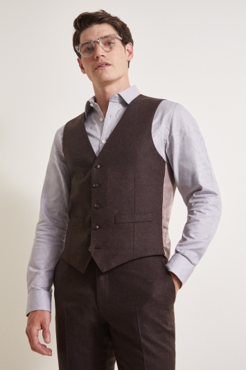 Moss 1851 Tailored Fit Plain Chocolate Flannel Waistcoat