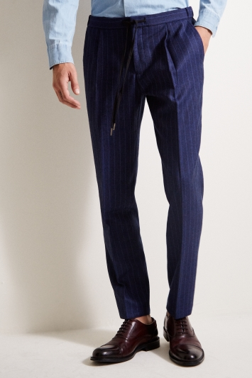 Moss 1851 Tailored Fit Blue Stripe Flannel Trousers