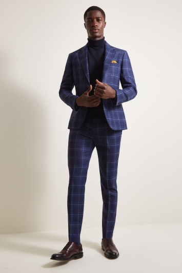 Moss London Slim Fit Italian Blue Check Jacket