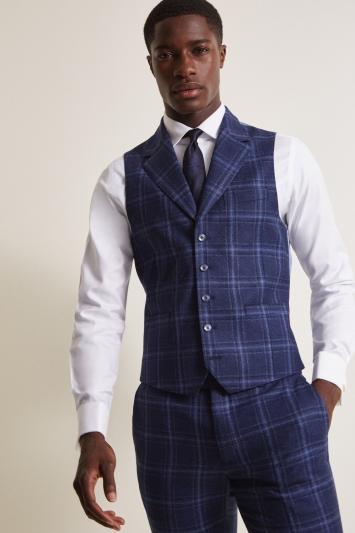 Moss London Slim Fit Italian Blue Check Waistcoat