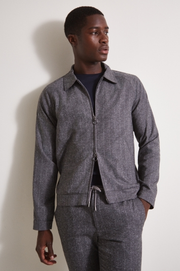 Moss London Slim Fit Grey Stripe Harrington Bomber Jacket