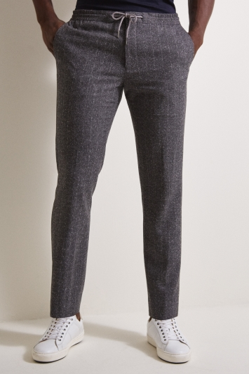 Moss London Slim Fit Grey Stripe Trousers