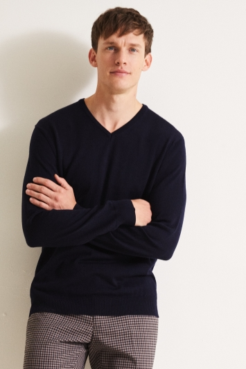 Moss 1851 Navy Merino V-Neck Jumper