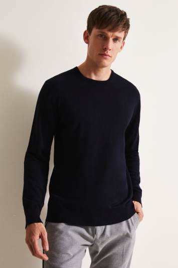 Moss 1851 Navy Merino Crew-Neck Jumper