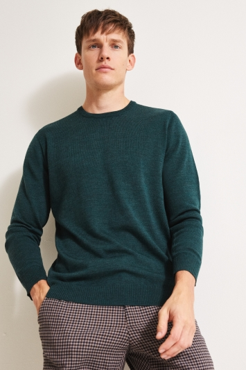 Moss 1851 Forest Green Merino Crew-Neck Jumper