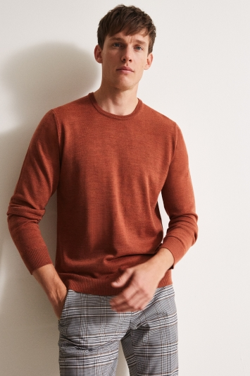Moss 1851 Orange Merino Crew-Neck Jumper