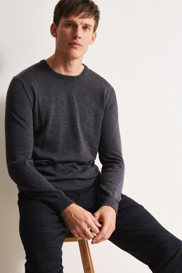 Moss 1851 Charcoal Merino Crew-Neck Jumper