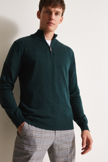 Moss 1851 Forest Green Merino Zip-Neck Jumper