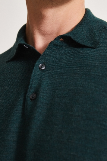 Moss 1851 Forest Green Merino Polo