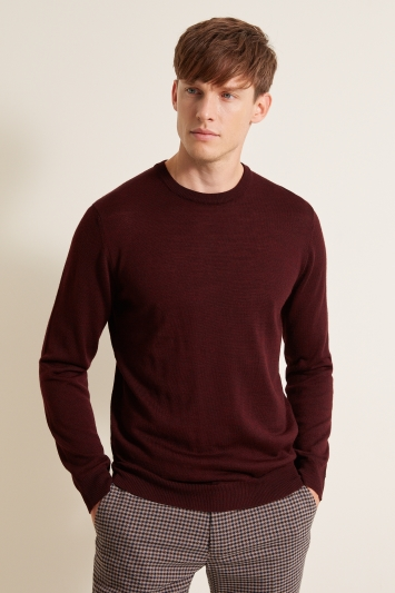 Moss London Burgundy Crew-Neck Jumper