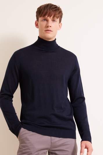 Moss London Navy Roll-Neck Jumper
