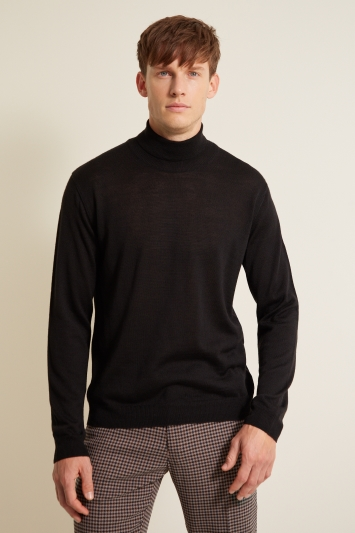 Moss London Black Roll-Neck Jumper