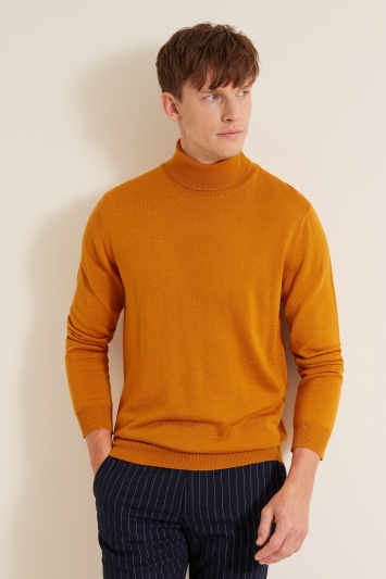 Moss London Mustard Roll-Neck Jumper